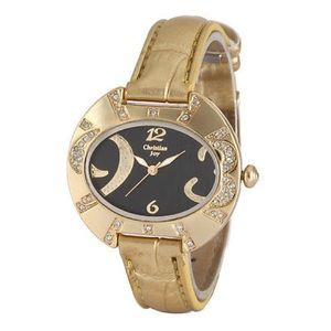 Gold Crystal Case Black Oval Dial Leather Women La